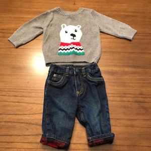 Carter's infant Sweater w/Jeans - size 6 months.